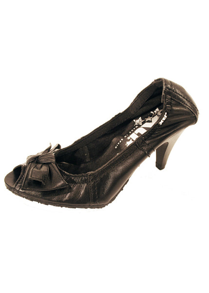 Ladies Designer Fashion Shoes by XTi Court Style Open Toe with Elasticated Rim in Black