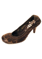Ladies Designer Fashion Shoes by XTi Court Style with Floral Design in Black