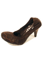 Ladies Designer Fashion Shoes by XTi Court Style with Floral Pattern in Brown