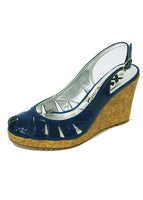 Ladies Designer Fashion Shoes by XTi Wedge Style Open Toe Patent Leather in Blue