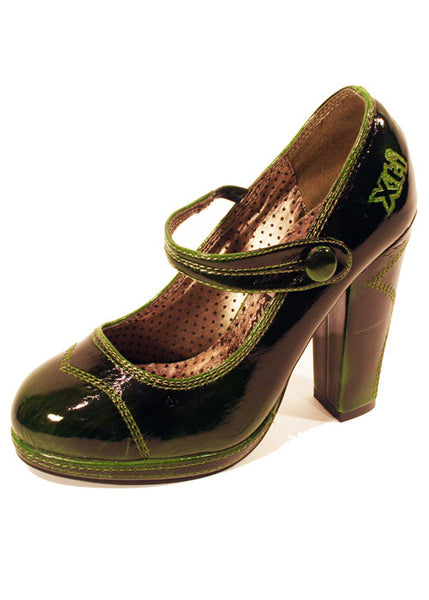 Ladies Designer Fashion Shoes by XTi Pearlescent Patent Leather in Green