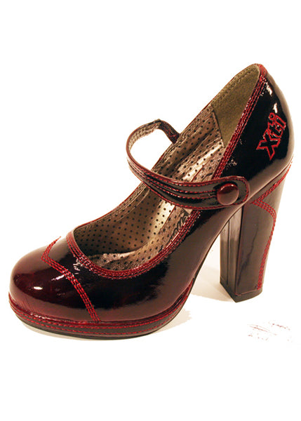 Ladies Designer Fashion Shoes by XTi Pearlescent Patent Leather in Red