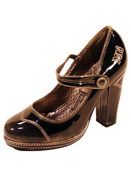 Ladies Designer Fashion Shoes by XTi Pearlescent Patent Leather in Two Tone Black & Grey