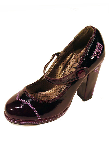 Ladies Designer Fashion Shoes by XTi Pearlescent Patent Leather in Violet