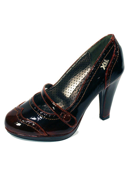 Ladies Designer Fashion Shoes by XTi with Un-buttonable Strap in Brown Patent Leather