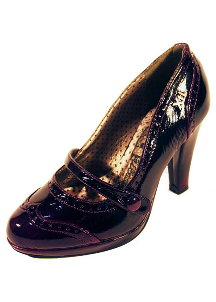 Ladies Designer Fashion Shoes by XTi with Un-buttonable Strap in Violet Patent Leather