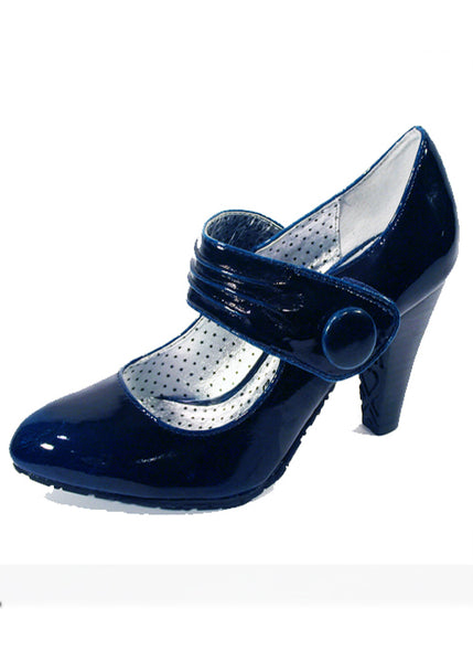 Ladies Designer Fashion Shoes by XTi Patent Leather Effect with Velcro Fastening Strap in Blue