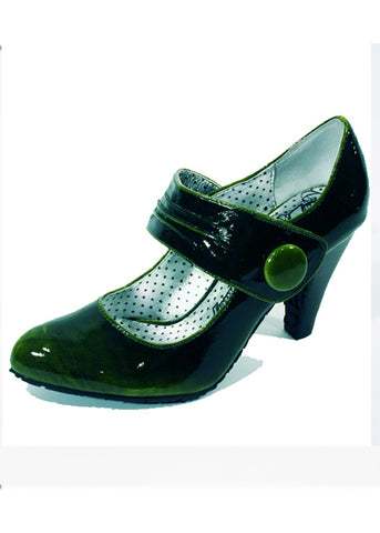 Ladies Designer Fashion Shoes by XTi Patent Leather Effect with Velcro Fastening Strap in Green