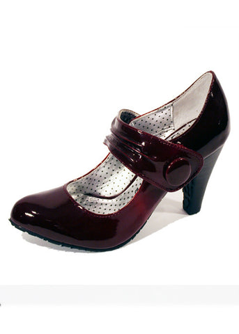 Ladies Designer Fashion Shoes by XTi Patent Leather Effect with Velcro Fastening Strap in Red