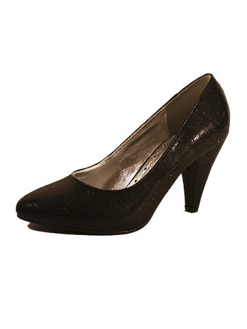 Ladies Designer Fashion Shoes by XTi with Chunky High Heel in Glitter Black