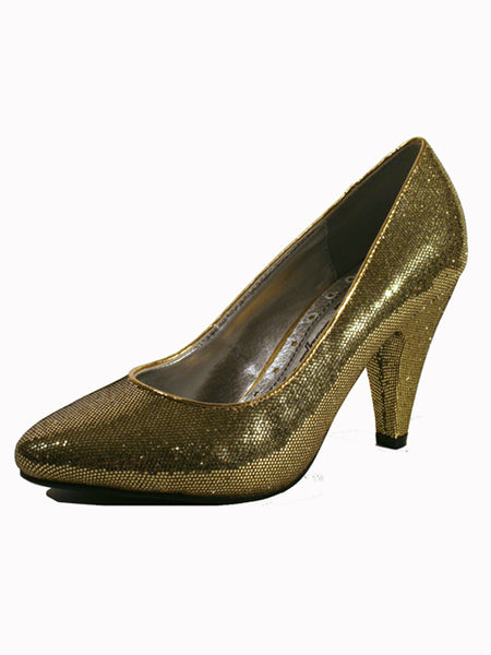 Ladies Designer Fashion Shoes by XTi with Chunky High Heel in Glitter Gold