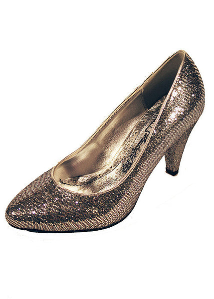 Ladies Designer Fashion Shoes by XTi with Chunky High Heel in Glitter Silver