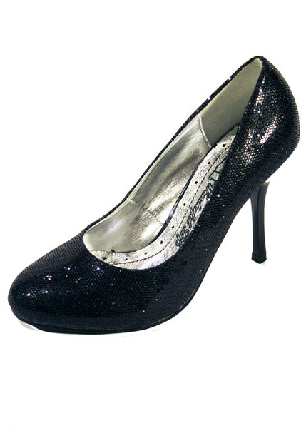 Ladies Designer Fashion Shoes by XTi with Thin Skinny High Heel in Glitter Black