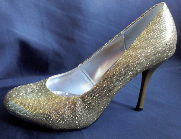 Ladies Designer Fashion Shoes by XTi with Thin Skinny High Heel in Glitter Gold