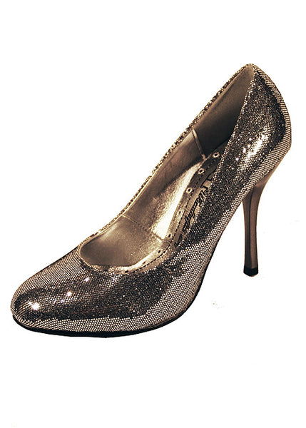 Ladies Designer Fashion Shoes by XTi with Thin Skinny High Heel in Glitter Silver