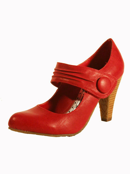 Ladies Designer Fashion Shoes by XTi in a Beautiful Soft Leather Design with Velcro Fastening Strap in Red
