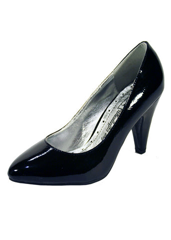 Ladies Designer Fashion Shoes by XTi with Chunky High Heel Patent Leather in Black