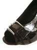 "Ladies Designer Fashion Shoes by XTi with Open Toe Black Patent Leather with 4"" High Heel"