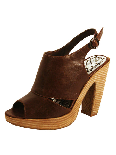 "Ladies Designer Fashion Shoes by XTi Open Toe  with Sling-back & Thick 4"" High Heel in Brown"
