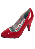 Ladies Designer Fashion Shoes by XTi with Chunky High Heel Patent Leather in Red