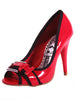 "Ladies Designer Fashion Shoes by XTi with Open Toe Red Patent Leather Effect with 4"" High Heel"