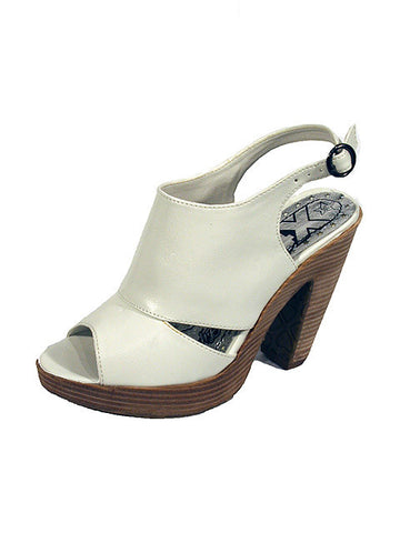 "Ladies Designer Fashion Shoes by XTi Open Toe with Sling-back & Thick 4"" High Heel in White"