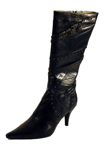 Ladies Designer Fashion Boots by XTi with Two-Tone Effect & Green Shades in Black