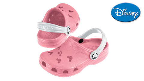 Kids Crocs Original Disney Style Cayman in Pink with White Strap