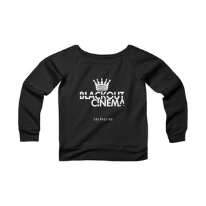 Blackout crown logo Women's Sponge Fleece Wide Neck Sweatshirt