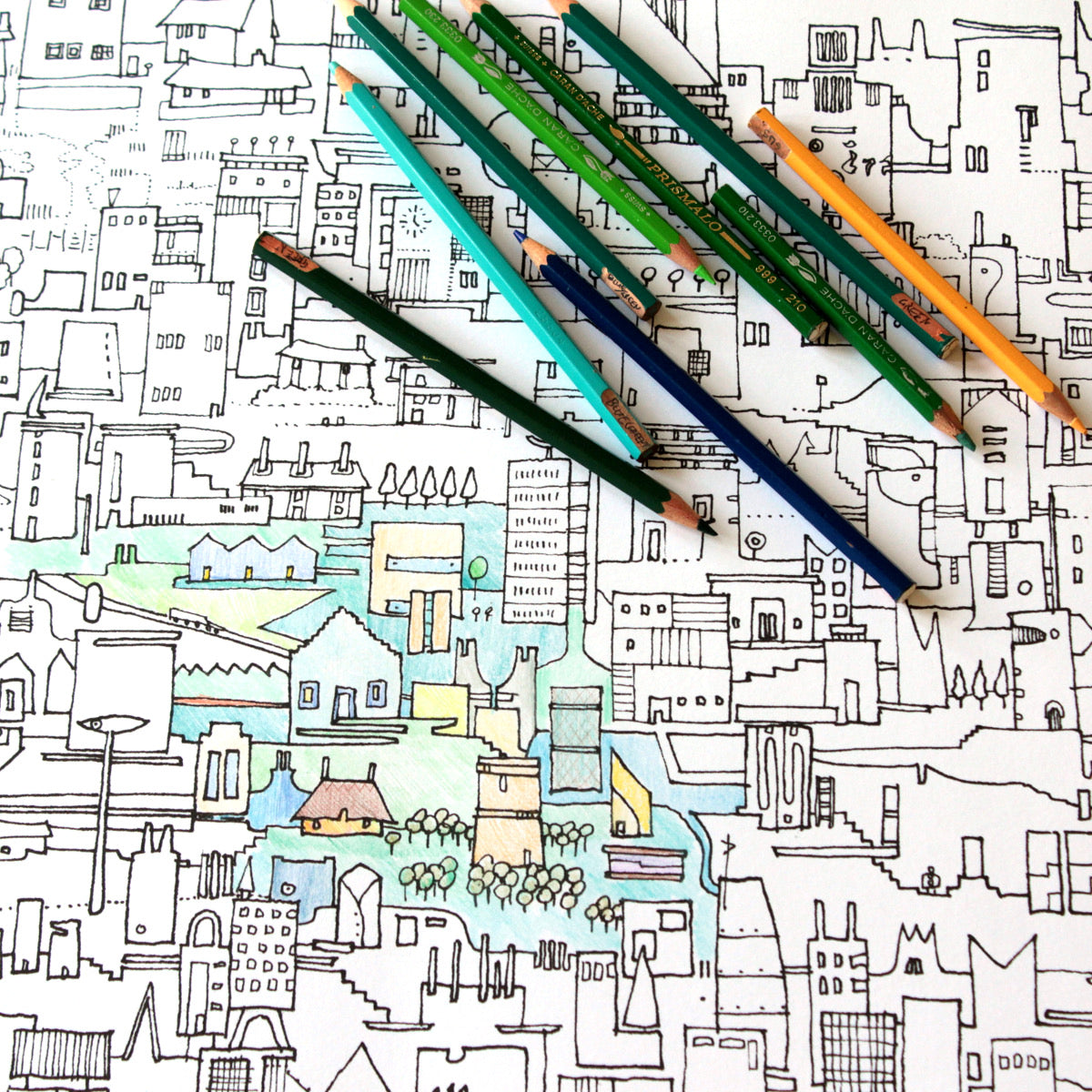 City Colouring Poster for grown ups