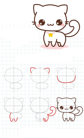 Une illustration de  dessin d'un chat kawaii