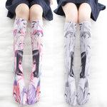 Lolita Over-knee Socks Anime RE: Zero Starting Life Ram Rem Cosplay Costume Cartoon Printed Gothic Style Velvet Long Socks