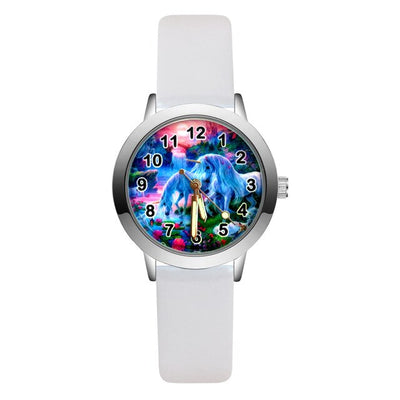 Fashion Cartoon pretty Unicorn horse style Children's Watches Kids Student Girls Boys Quartz leather Wrist Watch clock JA168