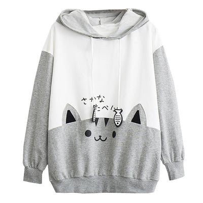 Sweatshirt Harajuku  chat Kawaii   Sakana