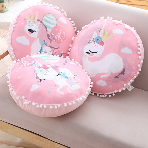 Coussin Licorne rose kawaii