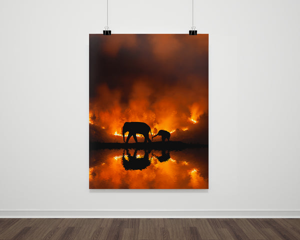 Elephants In The Fire Fine Art Print