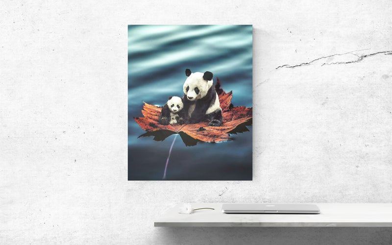 Panda Family Canvas Wall Art