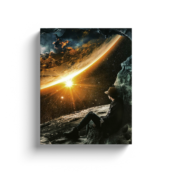 Man On The Moon Canvas Wall Art