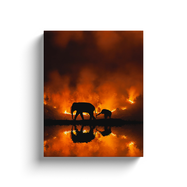 Elephants In The Fire Canvas