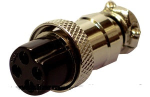 PLUG 4 pin metal female microphone plug with built in cable grip.