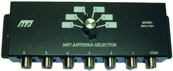 MFJ 1701 ANTENNA SWITCH, 6 POSITIONS 2 KW PEP