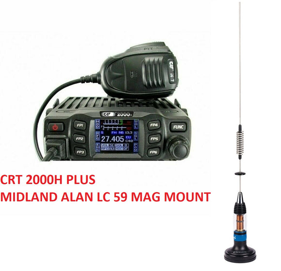 CRT 2000 H AM FM CB RADIO High Power 2000H + MIDLAND ALAN LC 59 CB MAG MOUNT