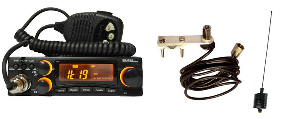 Lafayette ERMES PRO Multistandard AM FM CB Radio + Mirror Mount + Mini Stinger MULTI COLOURS