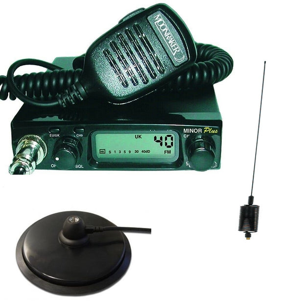 Moonraker Minor plus, CB Radio FM ONLY UK40 EU40 12/24v + MAG MOUNT + STINGER MULTI COLOURS