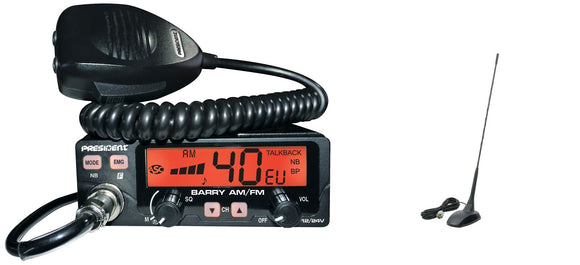 President Barry AM FM EU UK Mobile Multi CB Radio ASC 12 / 24V PLUS EXTRA 48 MAG MOUNT