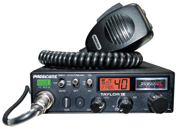 President Taylor IV 4 CB Radio 12/24 Volt 40 Channel Am/FM Multi