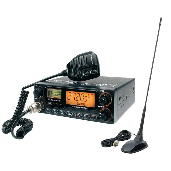 CB Midland Alan 48 Excel Radio Package + Extra 48 PNI Antenna with Mag Mount
