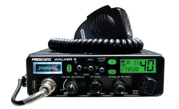 President Walker II ASC AM/FM Multi 7 Colour DIsplay CB Radio USB Charger