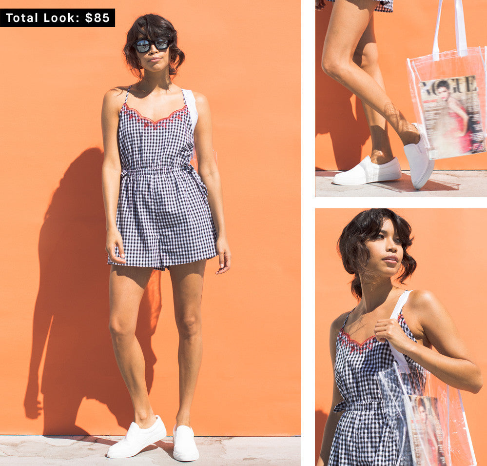 Tied in Gingham Romper