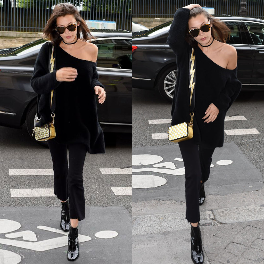 bella hadid - street style - black outfit